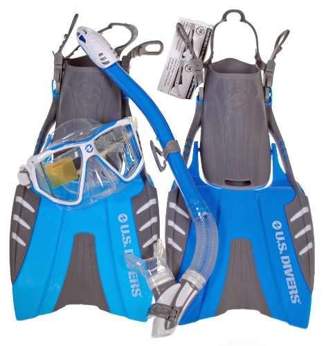 Set De Snorkeo Aletas Visor Snorkel Us Divers Talla Ch / M
