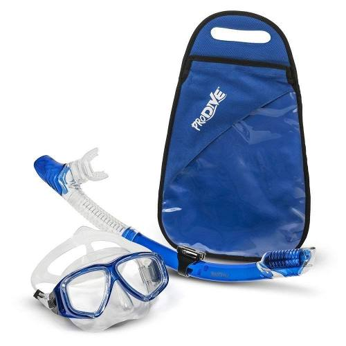 Visor Con Tubo Snorkel Mascara Profesional Kit Anti Fog Azul
