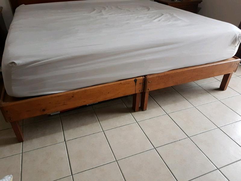 2 bases de madera individuales o para king size