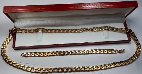 Juego Esclava & Cadena Barbada Chapa Oro 24k 19cm & 60cm 8mm