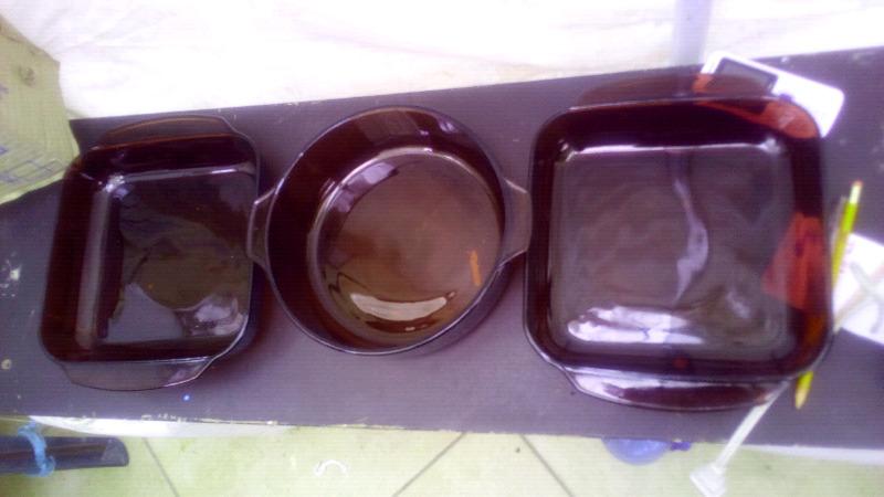 Juego de 3 ollas de vidrio para el horno visions