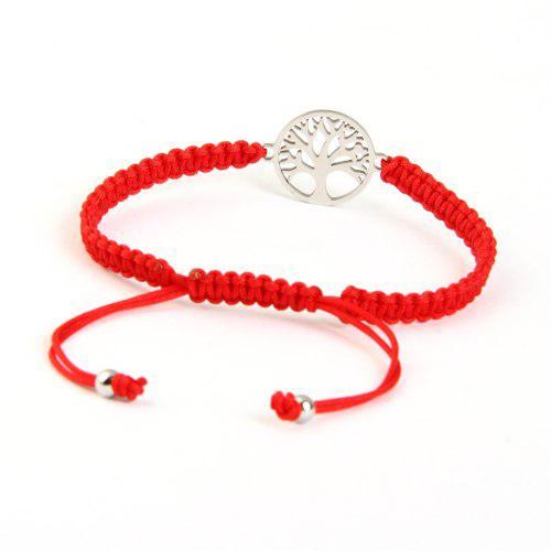 Pulsera Arbol De La Vida Amuleto Macrame Rojo Acero