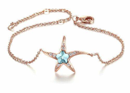 Pulsera Estrella De Mar Oro Rosa Laminado