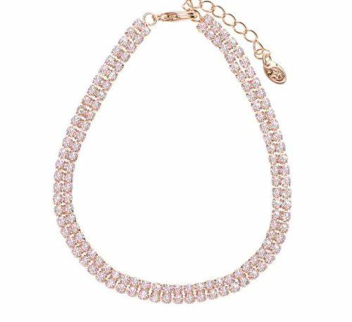 Pulsera Oro Rosa Brillantes Swarovski Elements + Estuche