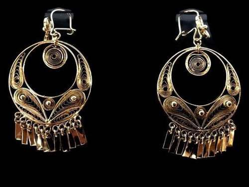 Arete Especial Filigrana 4cm En Chapa De Oro De 14k