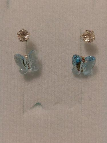 Aretes De Mariposa Azul Tipo Telefono Cristal De Plata