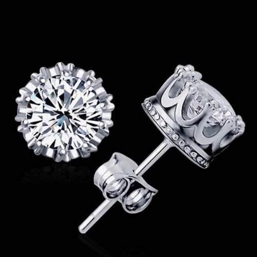 Aretes De Plata.925 Diamante Ruso Mayoreo Regalo Moda Novia