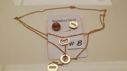 Aretes Y Collar En Acero Laminado En Oro Modelos #8 Al #14