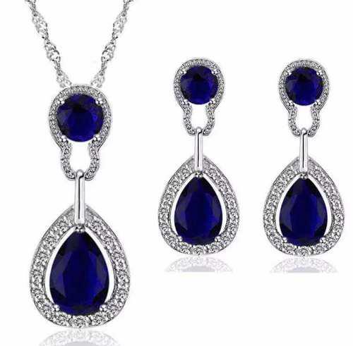 Aretes Y Collar Set Cristales Swarovsk Rojo Y Azul
