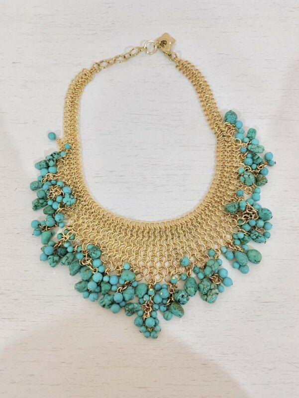 Increíble collar BCBG turquesa y dorado
