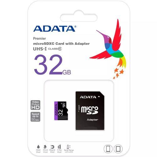 Memoria Micro Sd 32gb Adata Clase 10 Adaptador Nueva Blister
