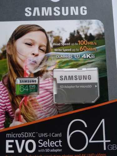 Samsung Evo 64 Gb 4k Micro Sd U3 Nueva Sellada Barata