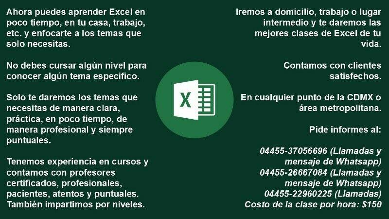 Excelentes clases de Excel en tu casa o trabajo
