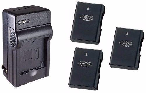 Kit Cargador Y 3 Baterías En-el14 Para D D D