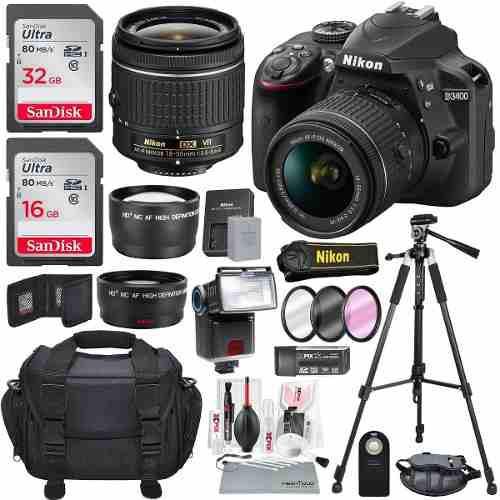 Cámara Nikon D3400 Con Lentes Nikkor Dx Y Accesorios De