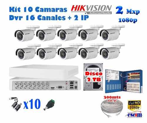 Kit 10 Camaras Hikvision p 2 Mpx Cctv 2tb Dvr 16 Ch Cabl