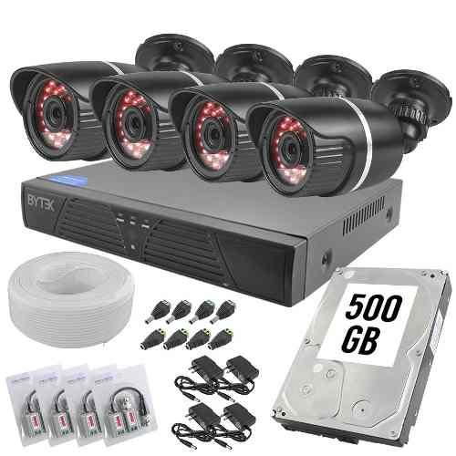 Kit Cctv 4 Camaras Bullet Seguridad 2.0mp p Disco 500gb