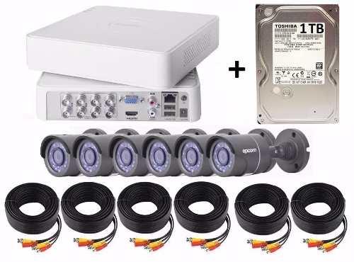 Kit Circuito Cerrado 6 Cámaras Epcom Hd 720p 1 Tb