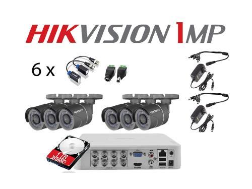 Kit Circuito Cerrado 6 Cámaras Hikvision Hd-720p 1 Tb