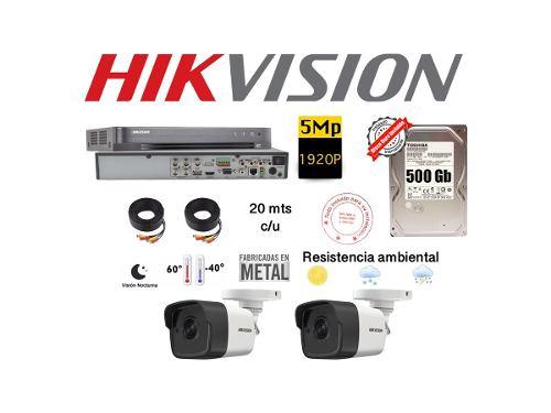 Kit Video Vigilancia 2 Cámaras 5 Mp Cctv Disco Duro 500 Gb