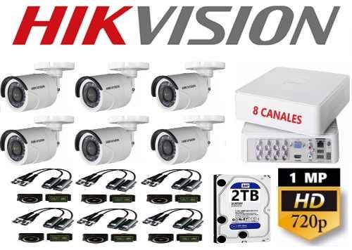 Kit Video Vigilancia 6 Cámaras Hikvision Baluns Hd 1mp 2 Tb