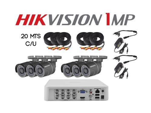 Paquete Kit 6 Cámaras Hd 720p Cctv Hikvision