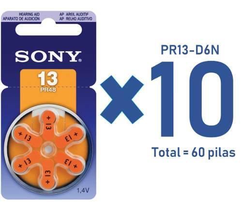 Sony Pila Auditiva. 10 Paquetes De 6 Piezas, Pr13-d6n / 1.4v
