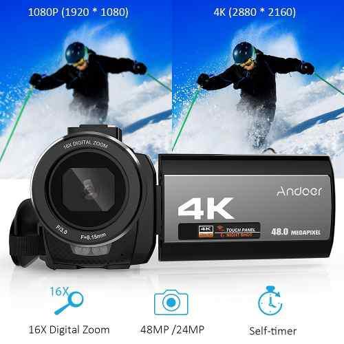 Videocámara Digital Andoer 4k Ultra Hd De 48mp Con Wifi