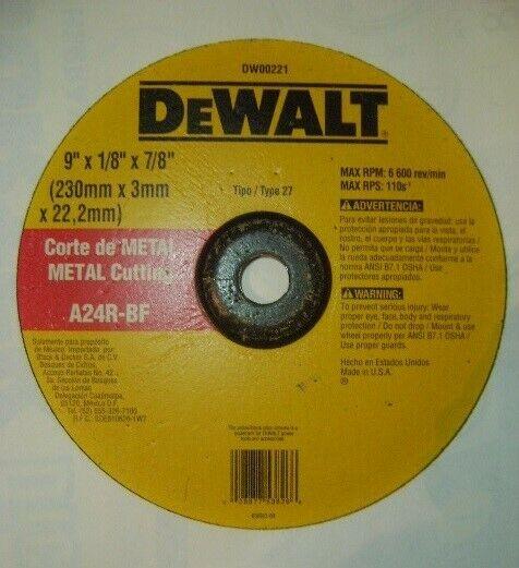 "DISCO DEWALT 9"" P/ CORTE DE METAL."