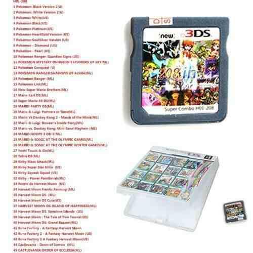 Cartucho De Juegos 208 En 1 Para Nintendo Ds Nds Ndsl Ndsi
