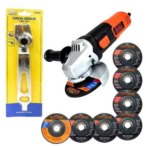 Esmeril Angular w 7 Disco Llave Regalo Black Decker