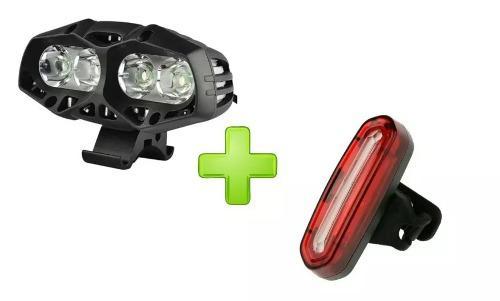 Kit Luz Delantera Bicicleta 4 Led+luz Trasera Usb Waterproof