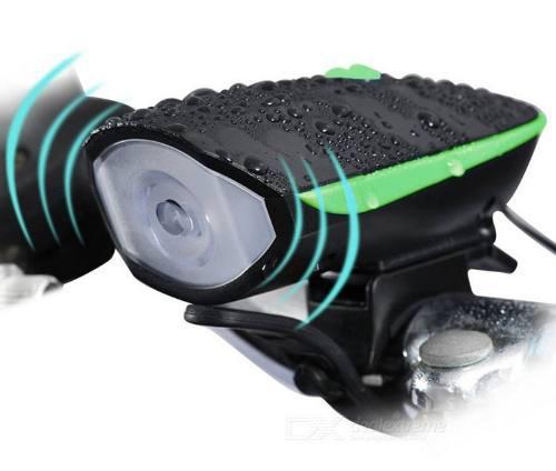 Lampara Luz Frontal Bicicleta Con Claxon 5 Tonos 120 Decibel