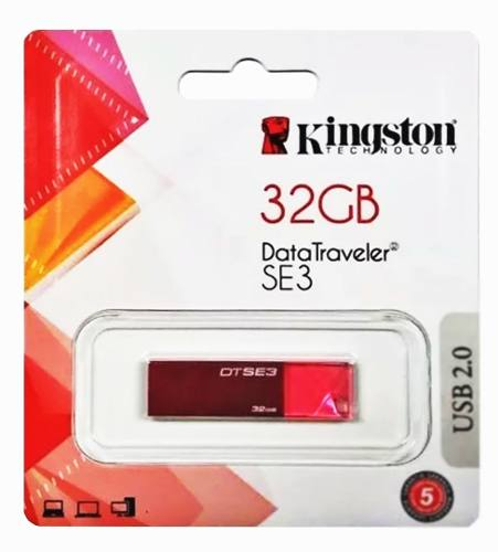 Memoria Usb 32gb Kingston Dt Se3 Roja Diamante 2.0 Nueva