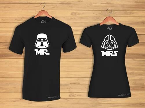 2 Playeras Pareja Novios Star Wars Darth Vader ¡envío