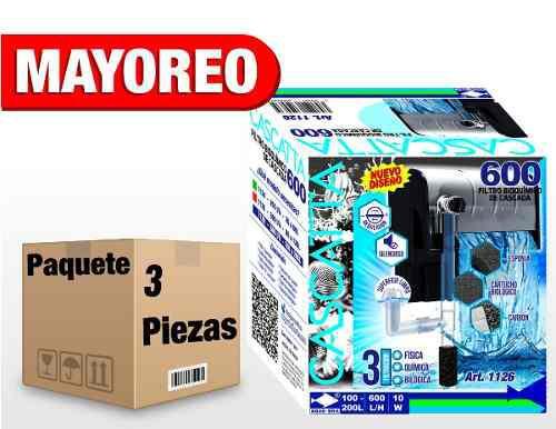 3 Piezas Filtro Cascada 600 L/h 100-200 L C/desnatador 1126