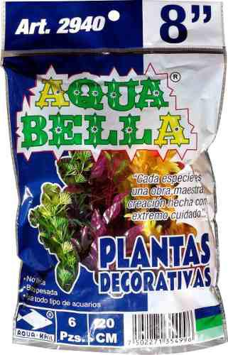 Plantas De Plástico Para Acuario Pecera Bolsa C/6 Pza 2940