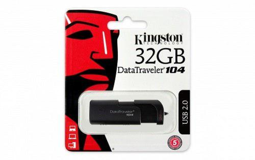 Memoria Usb 32gb Kingston Dt104 2.0 Negra Nueva Original
