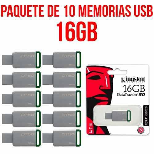 Paquete De 10 Memorias Usb 16gb Kingston Dt50 Dt50/16gb