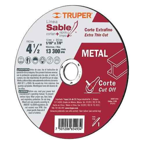 Disco Tipo 41 Para Corte Fino De Metal Línea Truper 12545