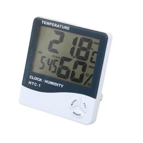 Higrometro Medidor De Humedad Digital Con Termometro Reloj
