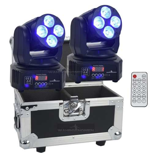 Set 2 Cabeza Movil Quad 4 Led 15w Rgbwauv Robotica Dmx Case