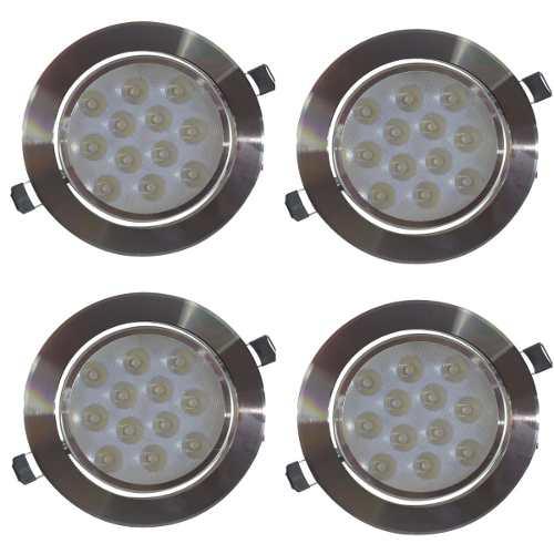 Empotrado Plafon Led 12w Luz Blanca Spot Bote 12 Cm 4 Pza