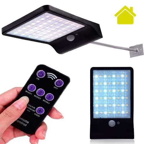 Lampara Solar 48 Leds Sensor Movimiento Pared Jardin Control
