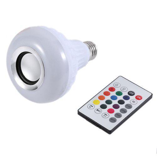 Foco Led Multicolor Bocina Bluetooth Control Remoto Rgb