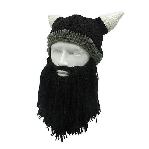 Gorro Tipo Cascó Vikingo Tejido Con Barba