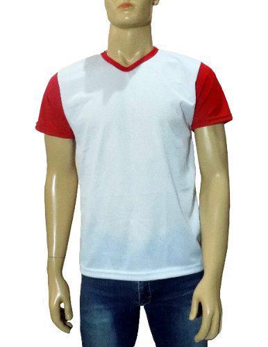 Playera Para Sublimar Combinado Blanco Con Rojo, Hombre