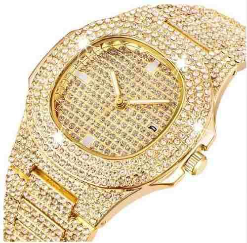 Reloj Diamantado Acero Inoxidable Hombre Moda Diamantes