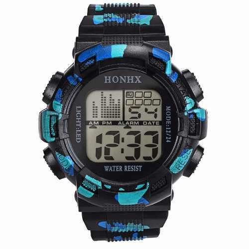 Reloj Digital Honhx Fecha Cronometro Luz Alarma Camuflado