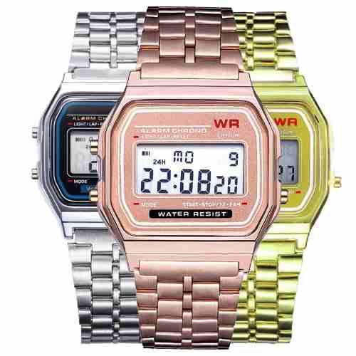Reloj Mayoreo Metal Dorado Led Digital Hombre Moda Mujer Wr